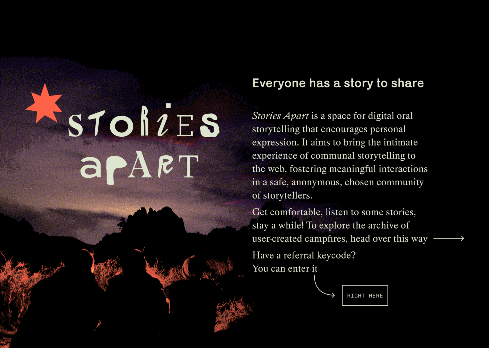"""A graphic of dithered pixels depicts three friends sitting facing a campfire, a colorful wave evoking the sunset in the background. The words """"stories apart"""" are collaged together from a variety of typefaces and hand-written letters. Text reads:"""