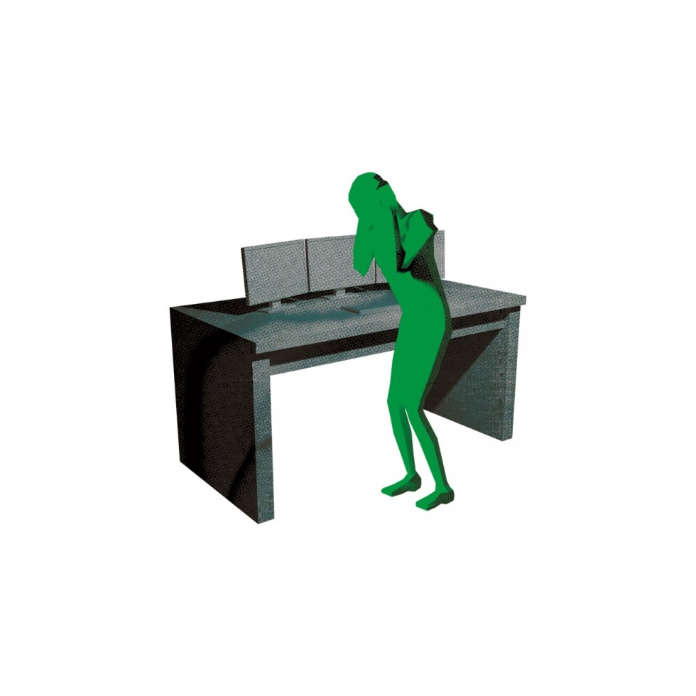 A 3D modeled figure cowering in front of a security desk.