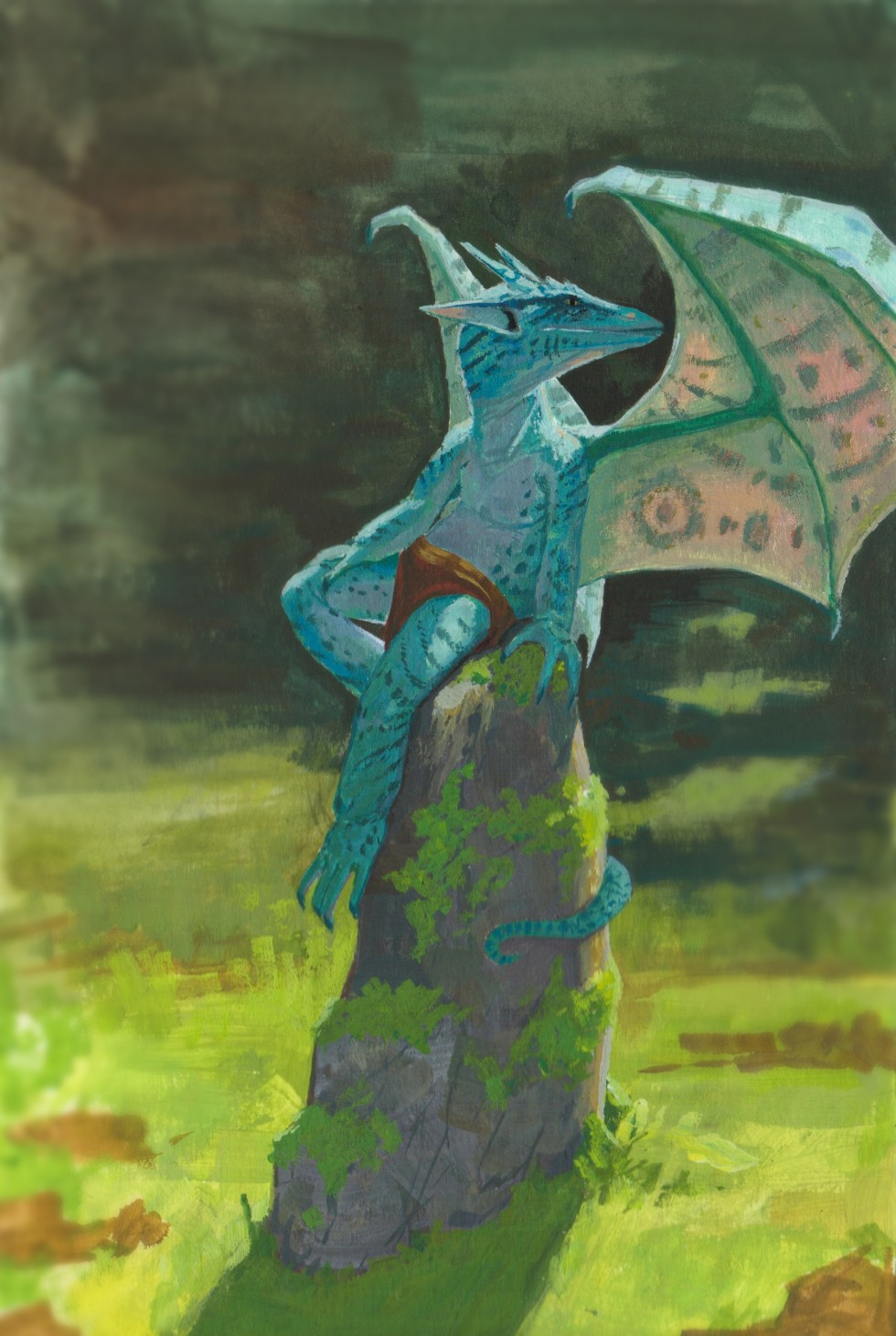 Bitu a preening, bright blue kobold. This scene depicts a bright blue dargon-like creature of childish prroporrtions seated comfortably on a tall mossy stone. It wears nothing but a reddish loincloth, its bright blue scaly skin patterned with darker strip