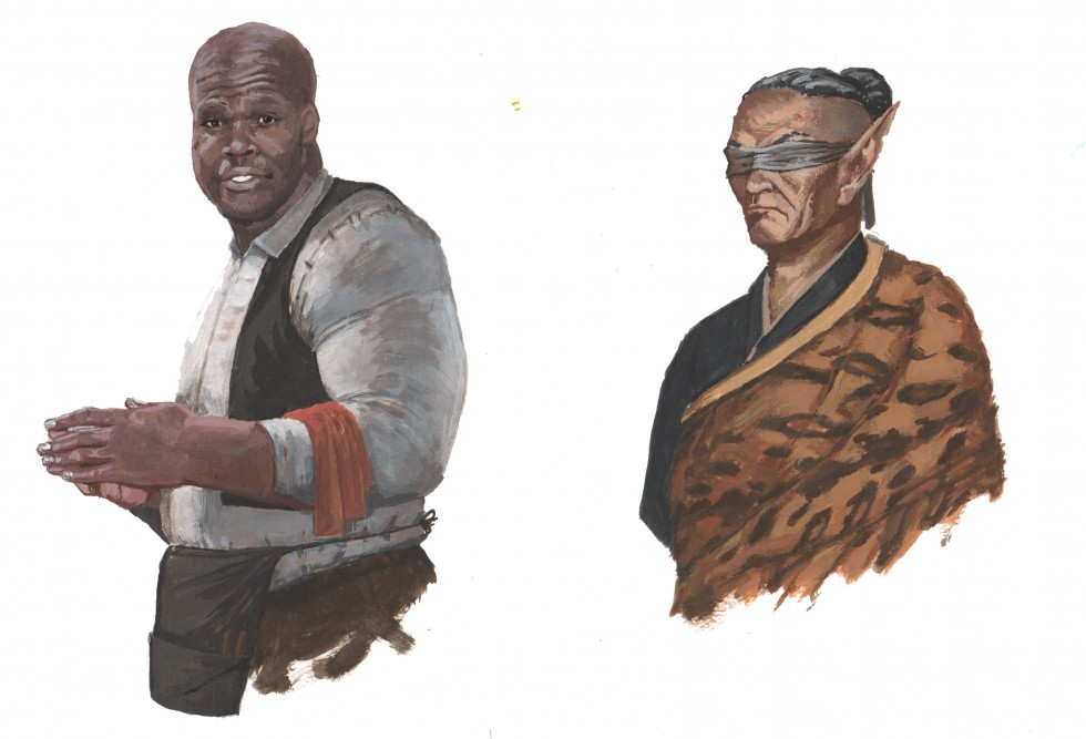 """These images are character illustrations from """"The Willow Well Conspiracy"""" adventure module. The Characters are as follows:  """"Eoin the 'Large' Barman"""", the proprietor of the Cackling Dolphin Inn, portrayed from the waist up in the atti"""