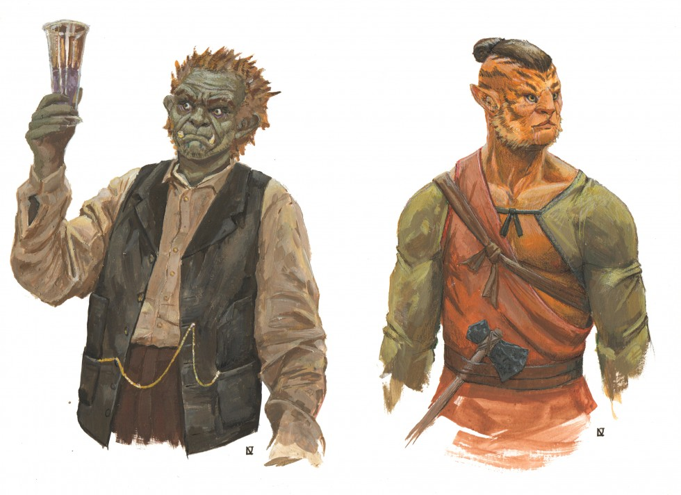 Borya a disgraced half-orc alchemist, holds up a tall flask in his right hand which he stairs at intently with small wild eyes. He is dressed in dusty westerrn clothes, with a loose, faded tan shirt a dark vest and brown trousers that are not renderred pa