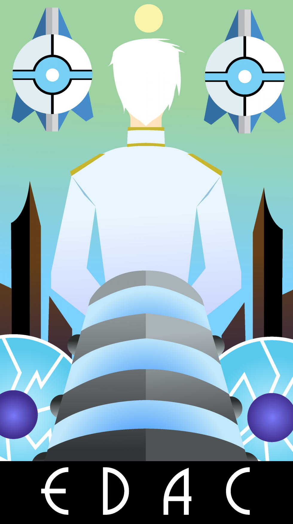 Posters of the major factions in the cyperpunk-esque city of Exia. Depicted are EDAC, the science and development center of the experimentally oriented city, in whites and blues, HERD, the city's increasingly robot dominated police force, in rusts and gre