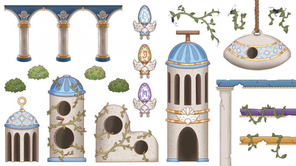 Sheet of various decorations, buildings, and other 2D video game assets. Illustration.