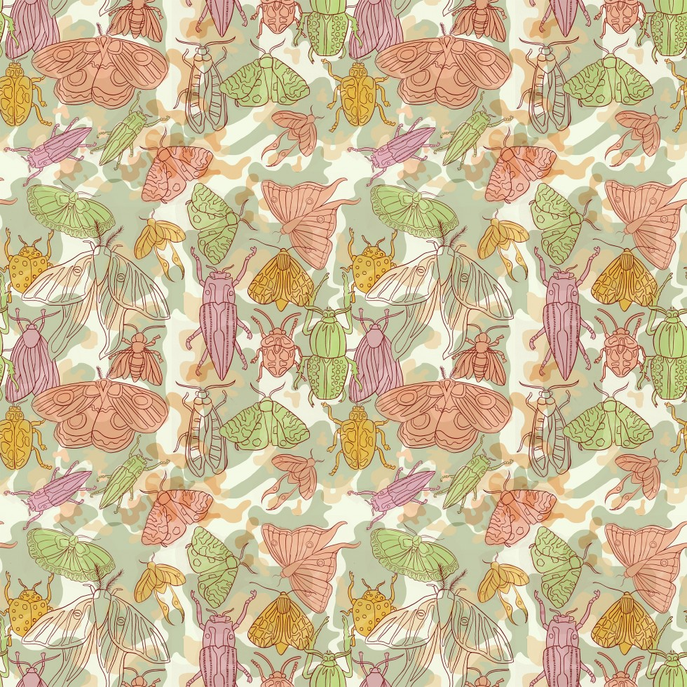 This is a surface pattern design created for young women's apparel and stationery products. The subject matter of this pattern is beetles and moths. The insects were traditionally drawn and then completed digitally. The color palette includes greens, pink