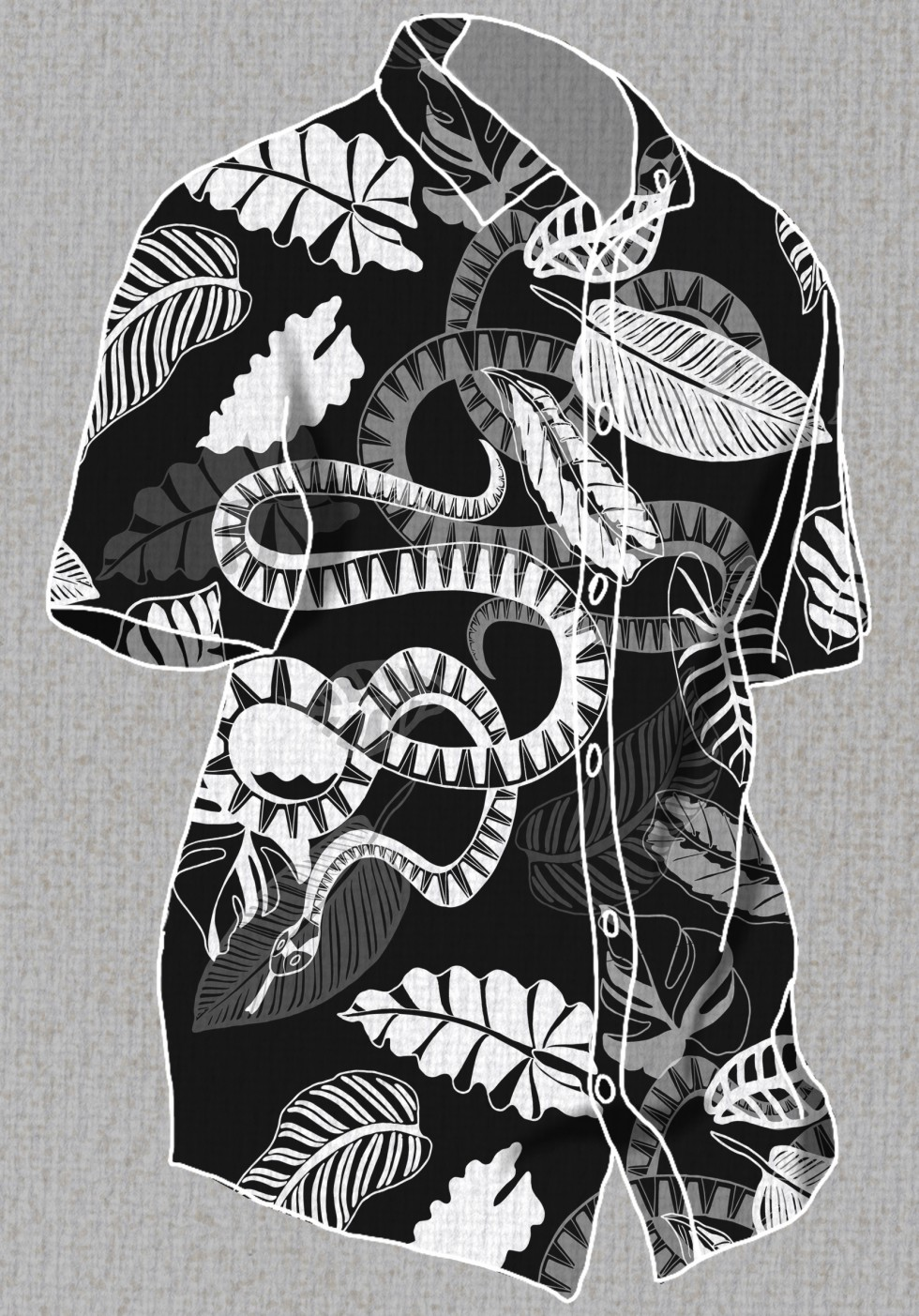 This is a surface design pattern created for young men's apparel. The pattern uses monochromatic colors, thick line work style and different opacity levels. The content of this design is a snake and tropical foliage. This pattern has been used on a men's