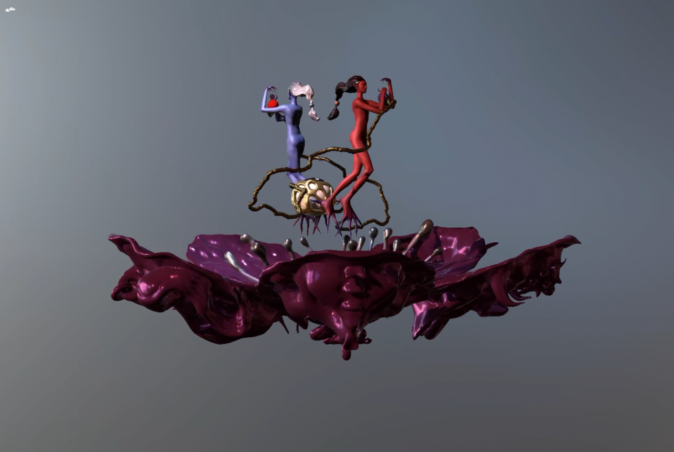 A 3D scene made of a pair of designed characters interacting, representing yin and yang, as well as a peach-blossom pedestal sculpted with Taoist evil faces underneath it.