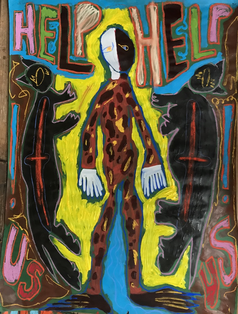"""A central figure stands, adorned by two black cats, on a 54"""" x 42"""" piece of paper. The figure is human like, with odd proportions and extra hands and toes. The words """"help us"""" repeat at the top and bottom of the frame. There are various abstract"""