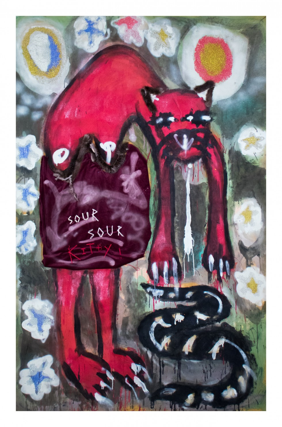 On a large Vertical yellow table cloth, a large cartoonish red cat with human like forms makes up the majority of the composition. The cat, is outlined on red and black spray paint. At the tip of the cats hands is a painted black stripped snake. The cat a