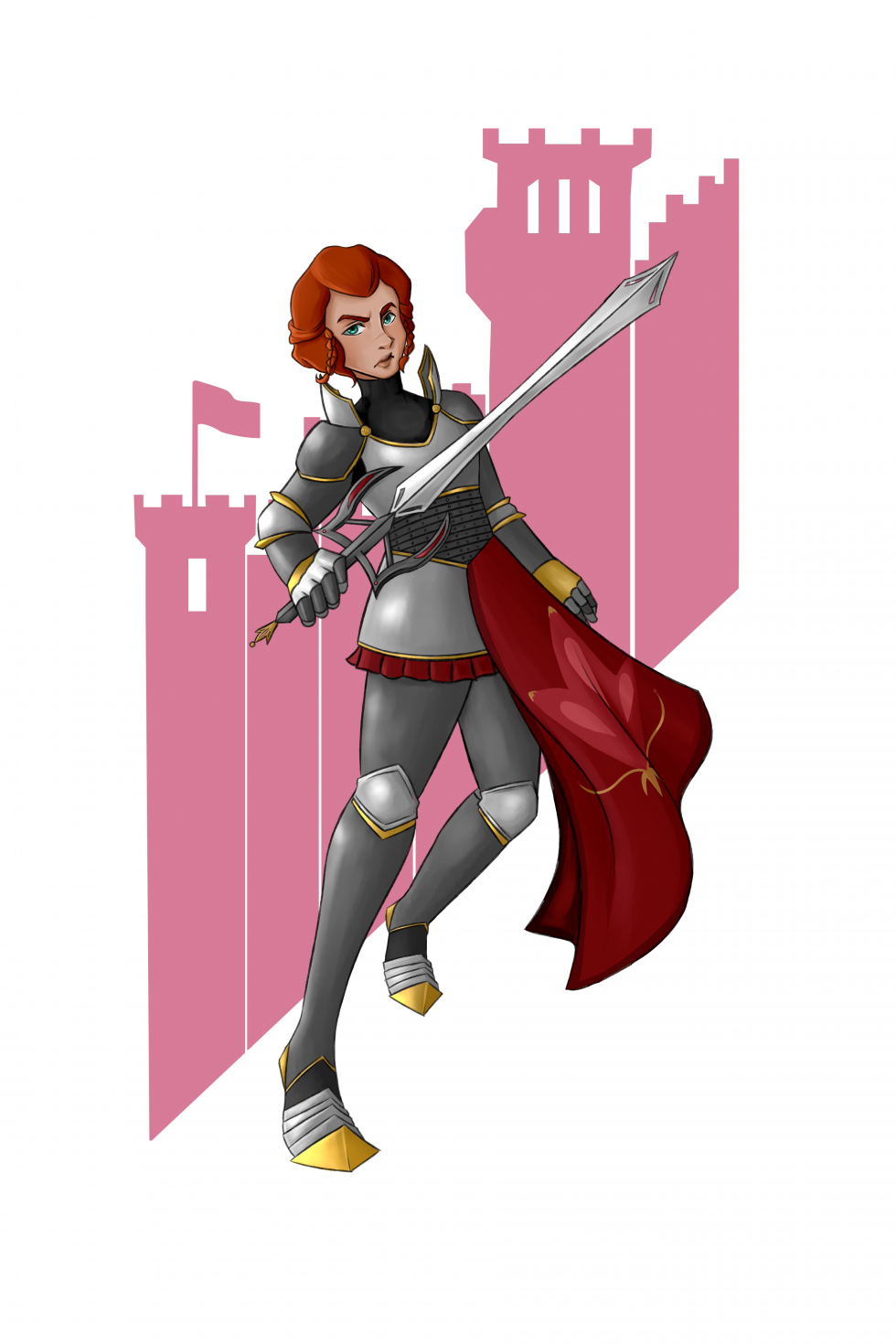 Girl in armor holding a sword on a red background image of a castle