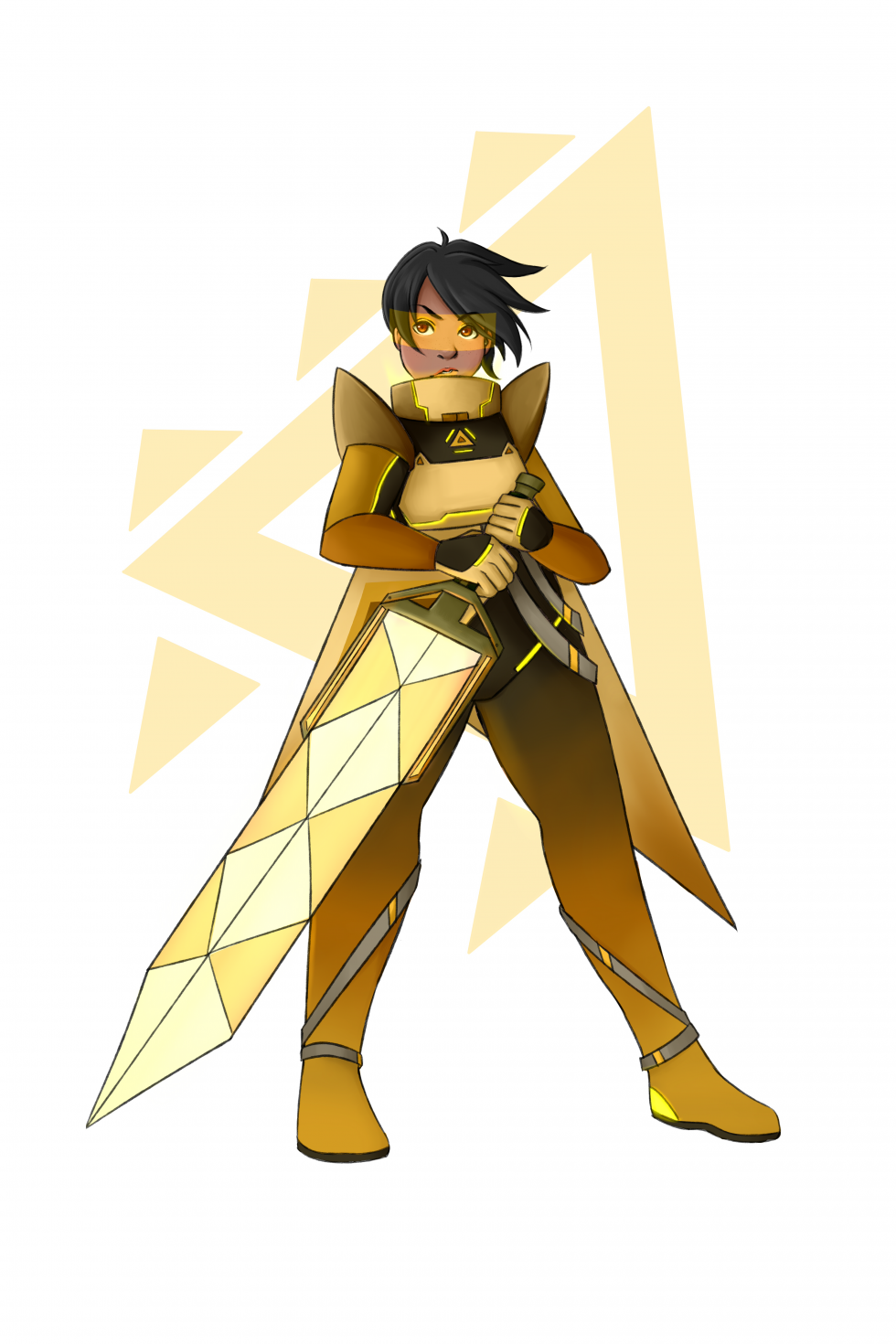 Girl in a uniform holding a glowing yellow sword across her body with a yellow background image of a triangle pattern.