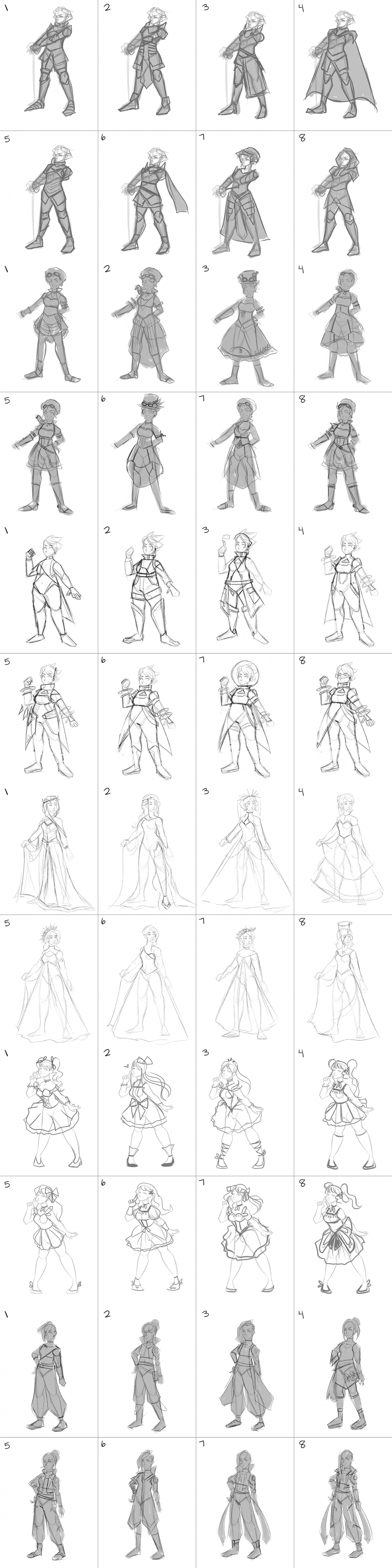 Different character silhouettes for each character based on a specific genre (Medieval/Steampunk/Sci-Fi/Ceremonial/Magical Girl/Cyberpunk)