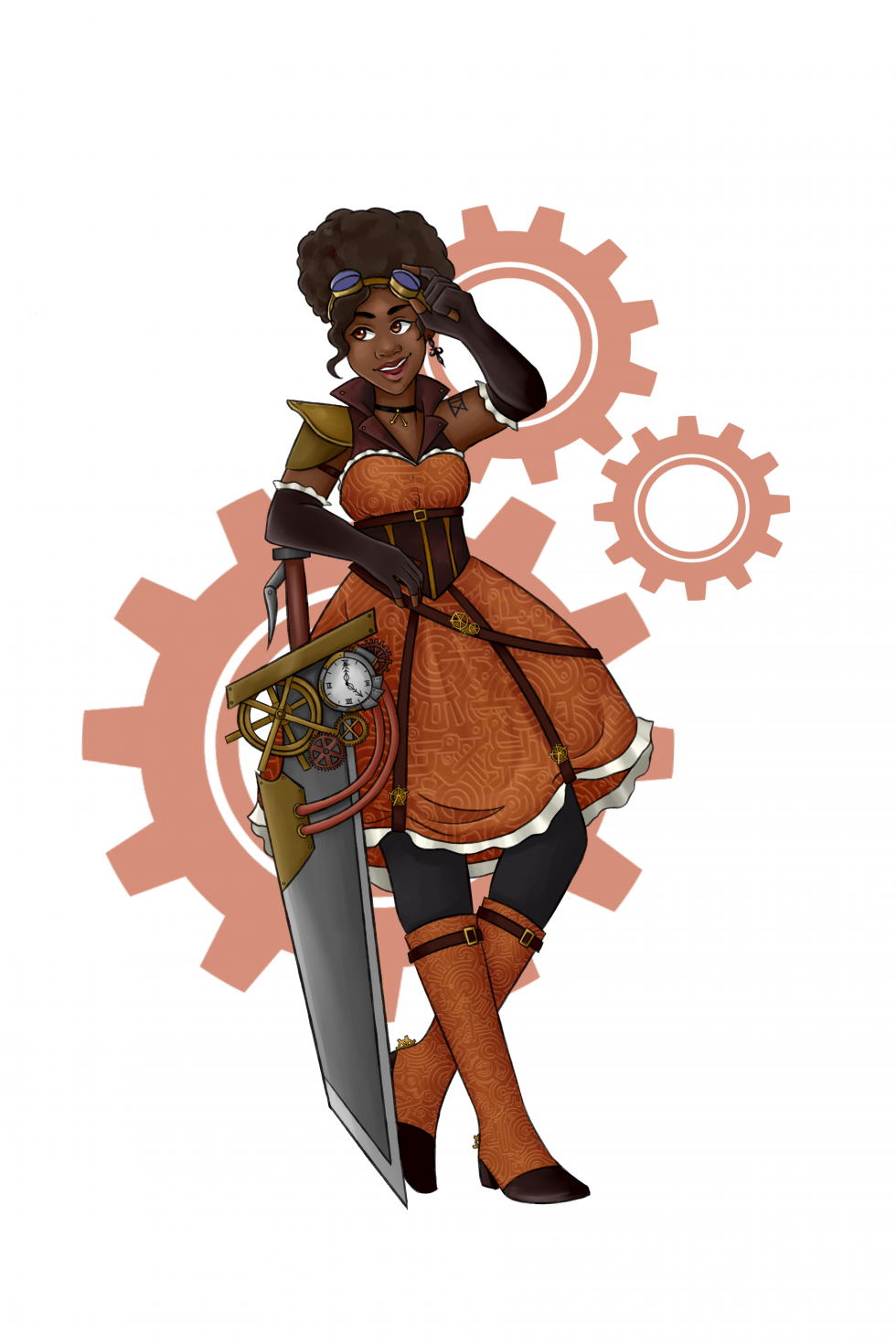 Girl in an orange dress leaning on a large sword with an orange background image of gears