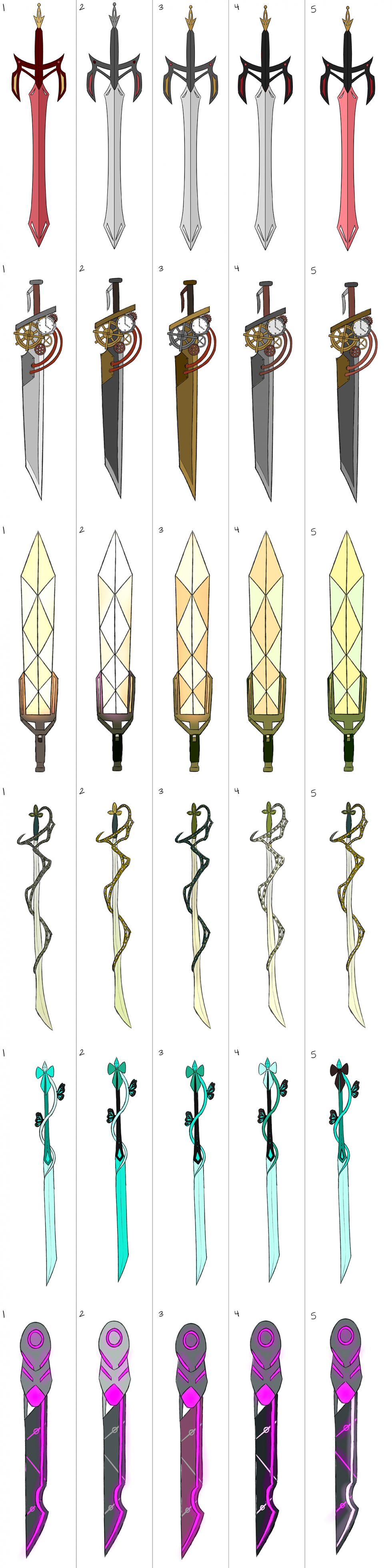 Different sword color palettes for each character based on a specific genre (Medieval/Steampunk/Sci-Fi/Ceremonial/Magical Girl/Cyberpunk)