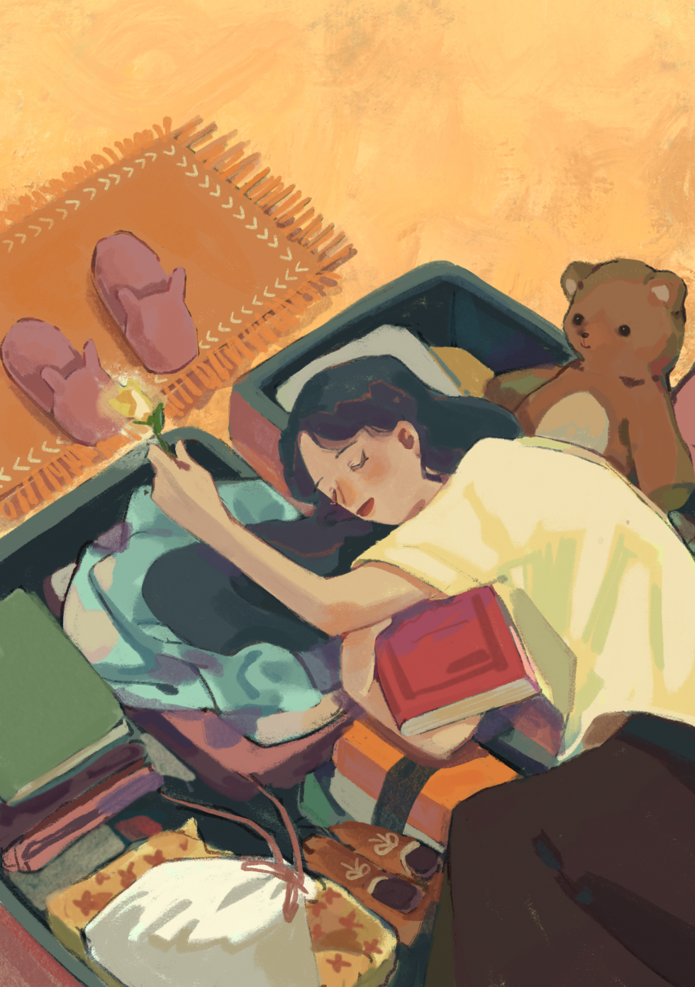 Digital Illustration about a girl laying on a open suitcase having a homesick moment.