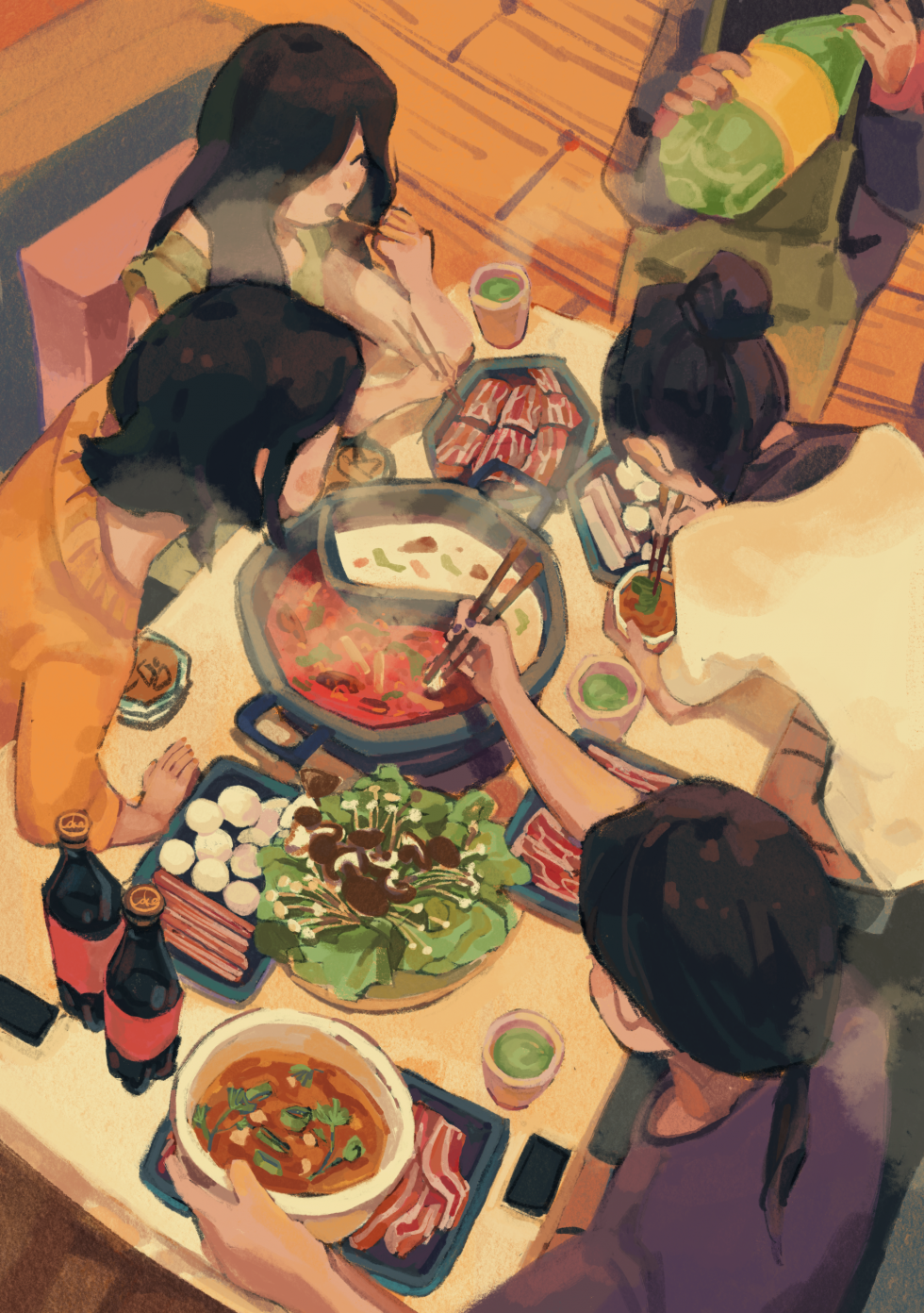 Digital Illustration about a girl having a hotpot party with her friends