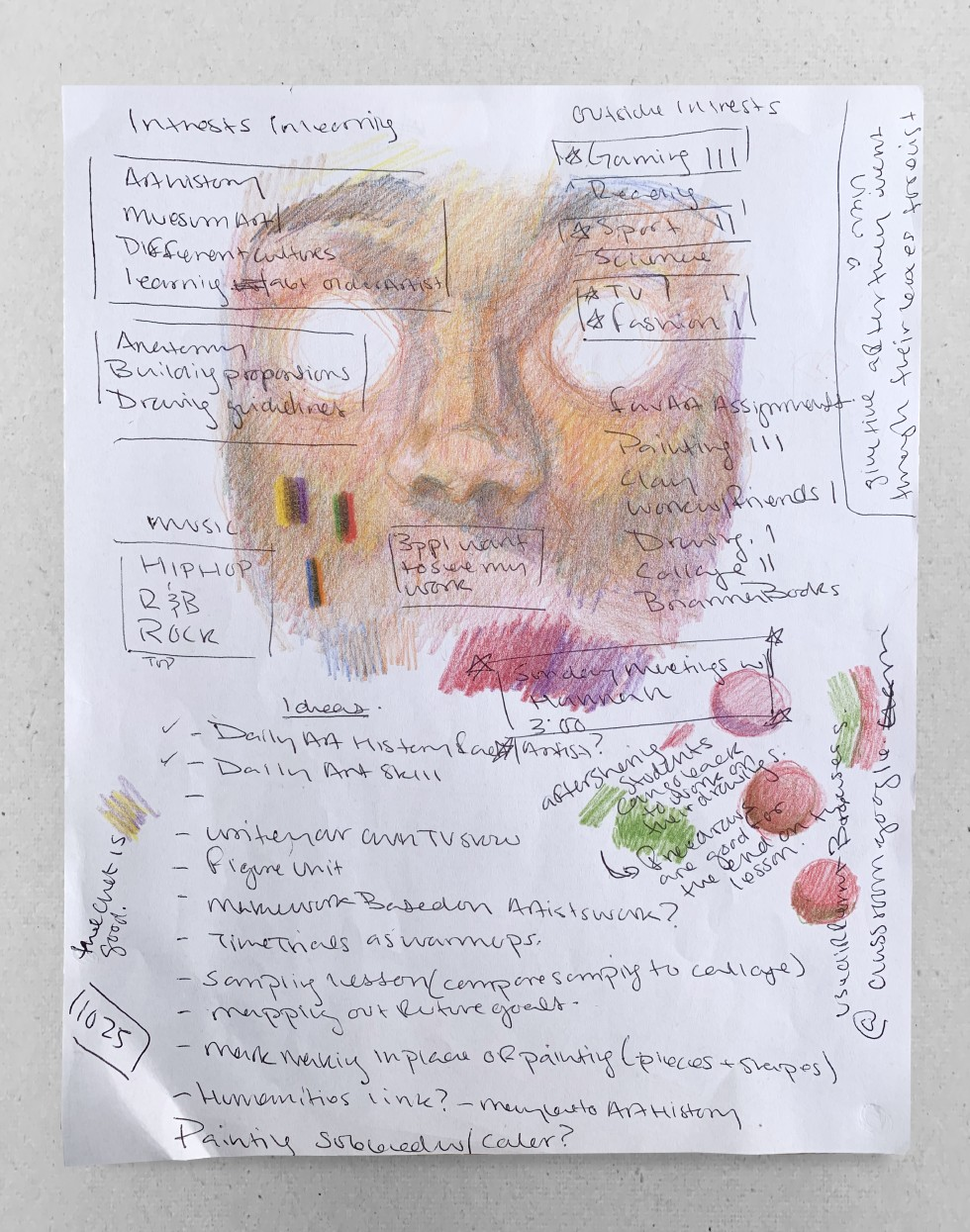 This sketch documents the results from a survey that was sent to assess students' interests. Based on the survey students seemed to be interested in painting. Due to schools being taught virtually, I experimented with color pencil in an attempt to replica