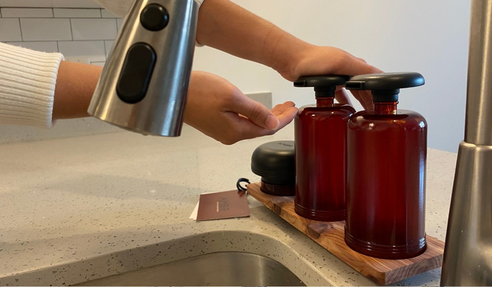 Three images of the dish cleaning products in the kitchen to highlight user interaction.