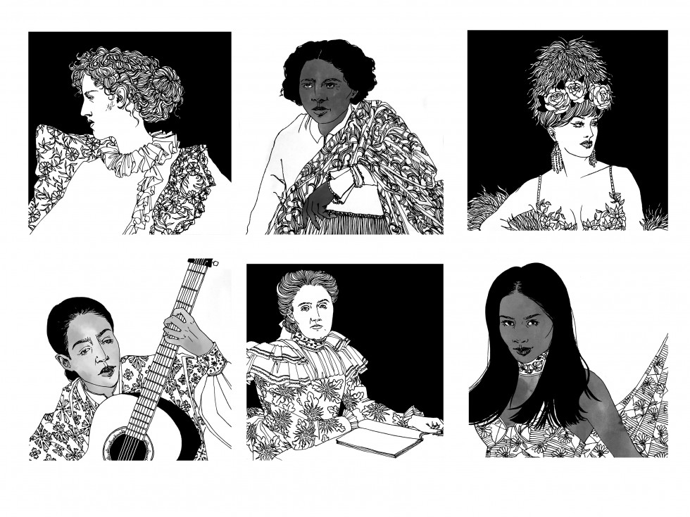 An ongoing series depicting queer and trans women throughout history. Pictured are poet Eva Gore-Booth, artist Edmonia Lewis, performer Jacqueline Charlotte Dufresnoy, singer Chavela Vargas, activist Jane Addams, and model Tracey Africa Norman.