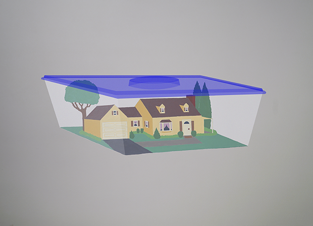 Painting of a suburban home enclosed in Tupperware. Addressing the importance of maintaining a happy home life as well as the bubble many of those who live in the suburbs are in.