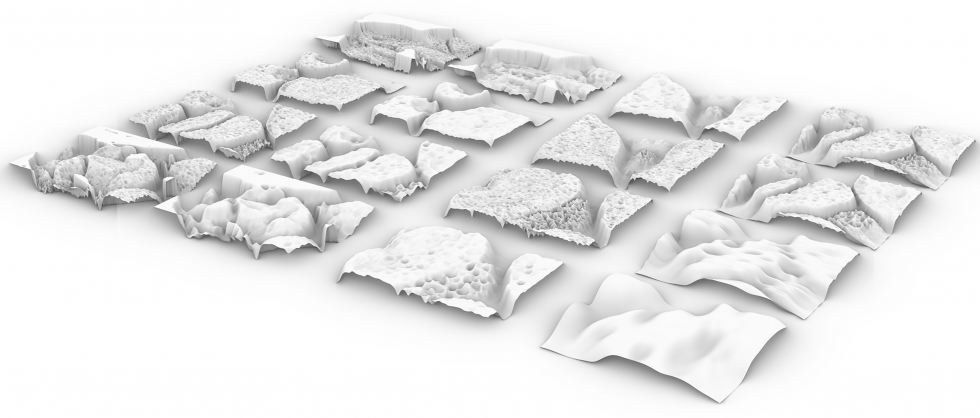 First image shows sixteen digital rectangles filled with 3-D renderings of a nude female body. Second image shows same sixteen digital renderings but from a sideways angle showing the topographical nature of these figures.