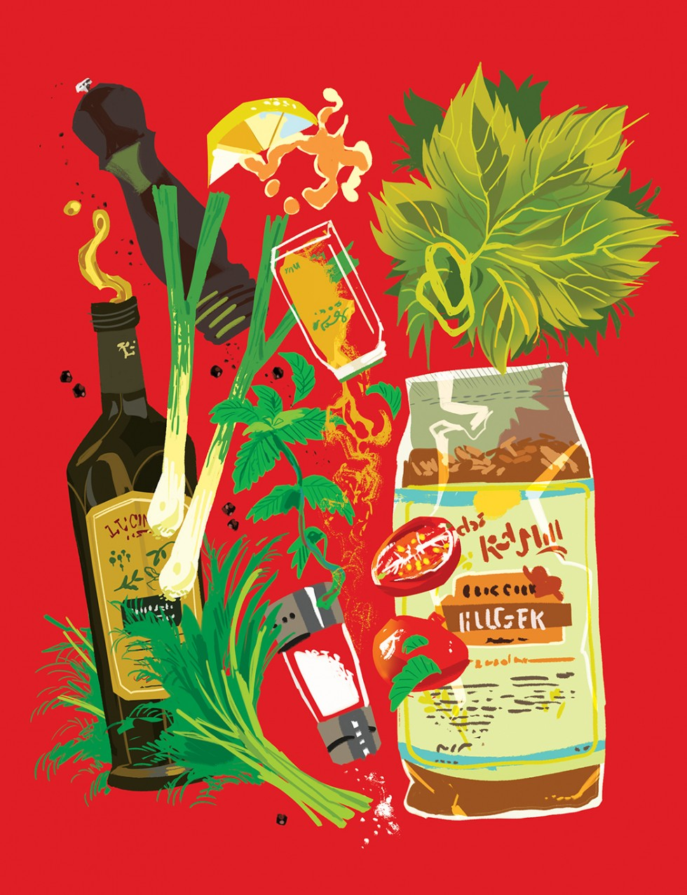 illustration that shows the ingredients for grape leaves with bulgur and mint recipe