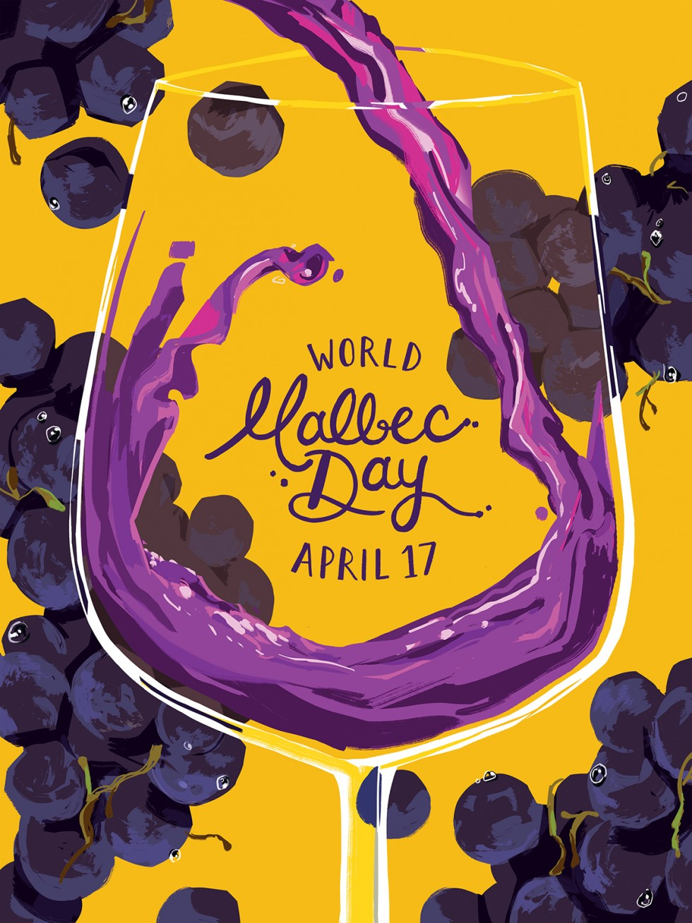 "illustration of wine being poured into a large glass, with rendered grapes framing the composition. in the center of the glass, ""World Malbec Day, April 17"" is hand lettered"