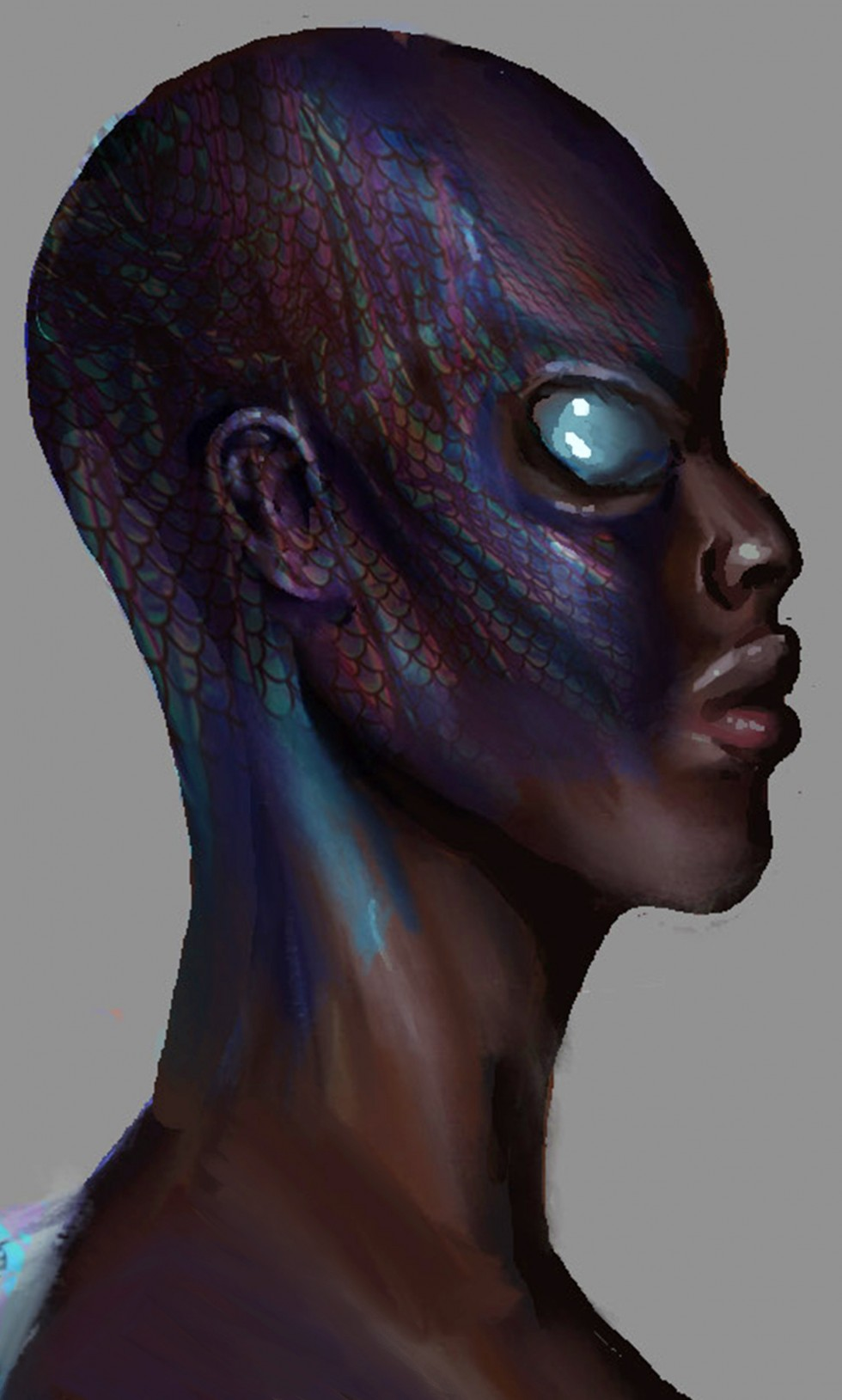A nude bald black woman with light source coming from between her chest. She has fish eyes and fish patterns in parts of her body.
