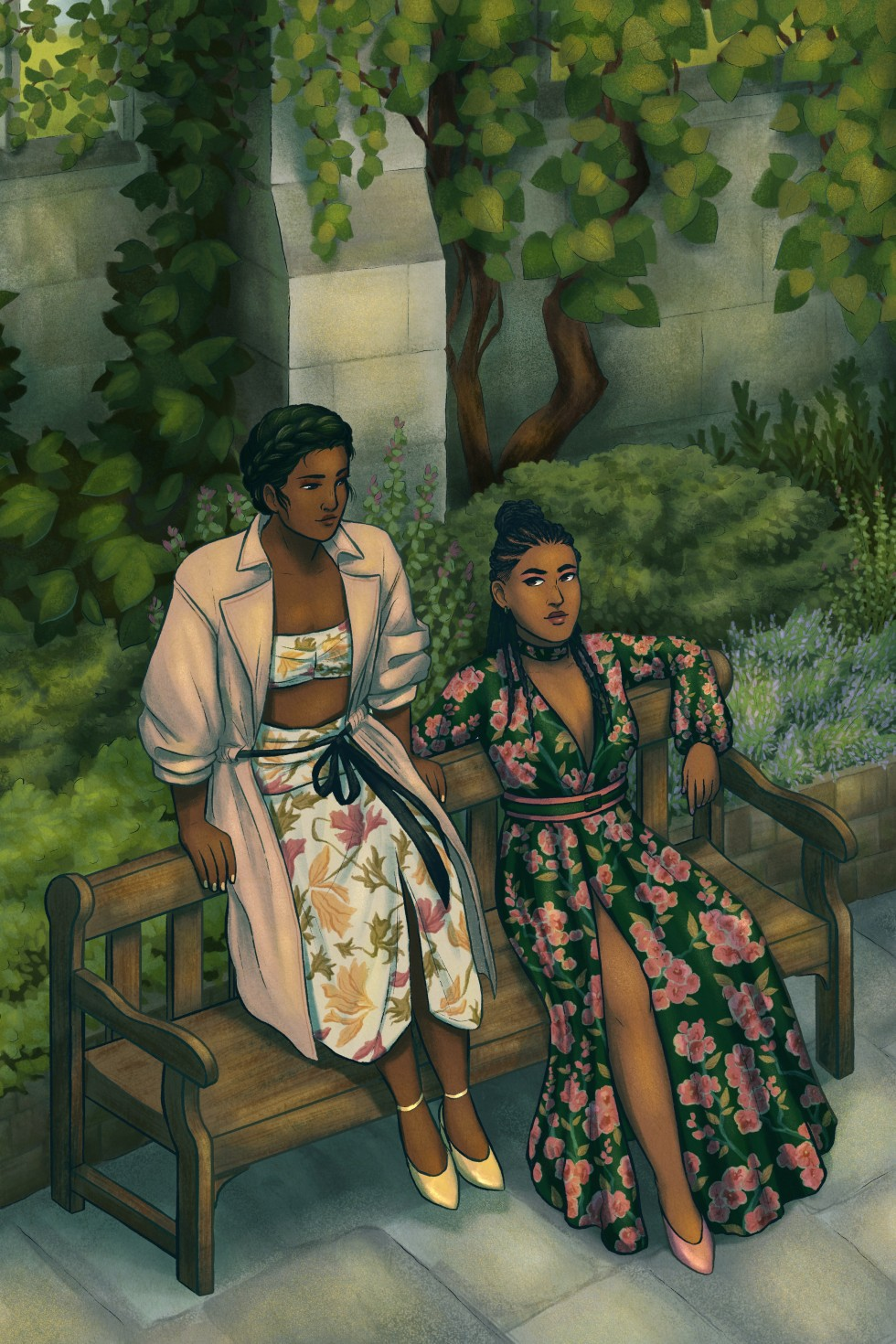 A digital art piece that features two figures glancing at each other and sitting on a park bench in the sun. The figure on the left is sitting on the back of the bench. She has dark skin and dark hair done in a braid crown, and she is wearing a cream colo