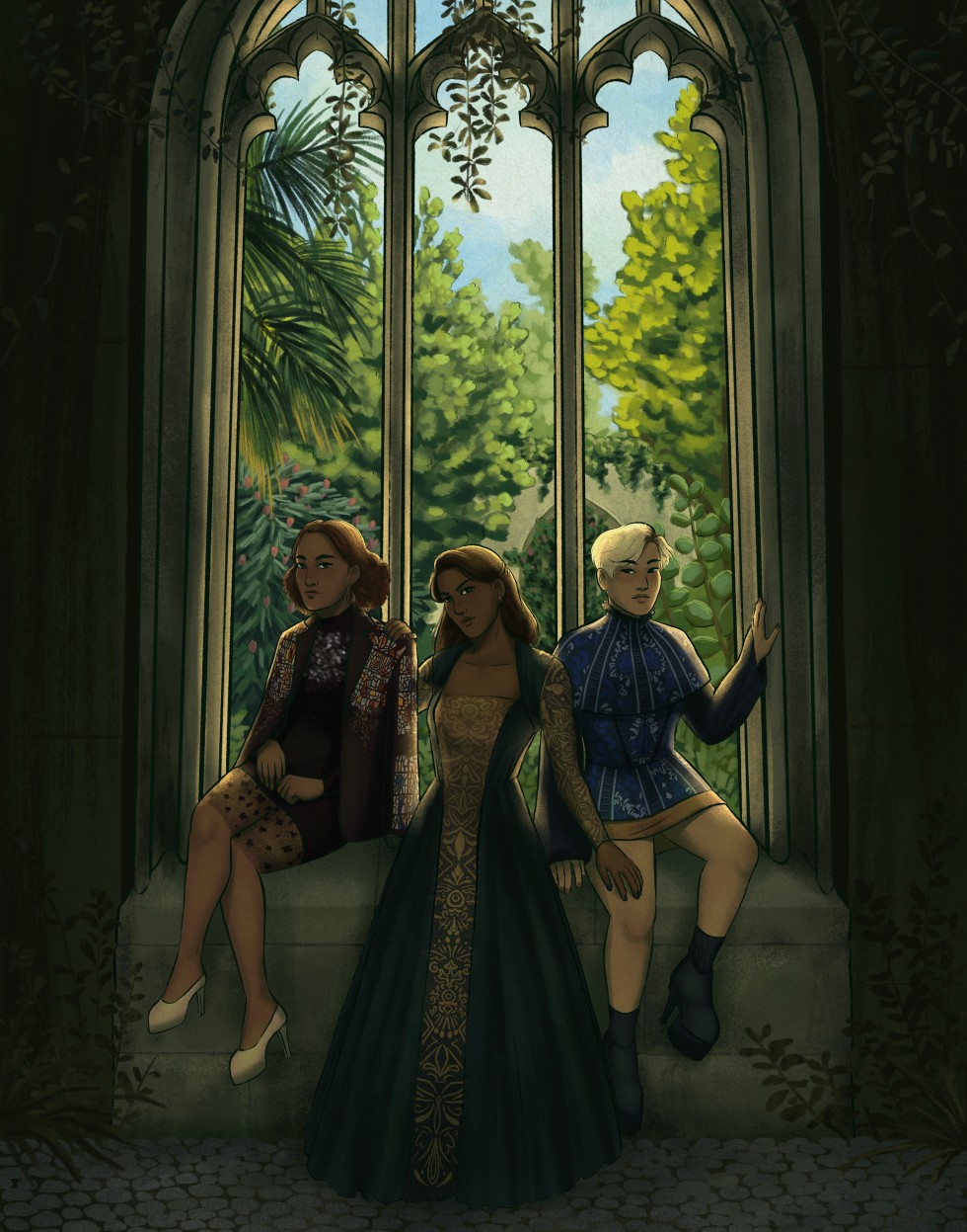 A digital art piece that features three figures sitting in a park, in front of a stone gothic arched window with no glass. The figure on the left is sitting on the window sill. She has curly red chin length hair, and is wearing a beaded black dress and ja