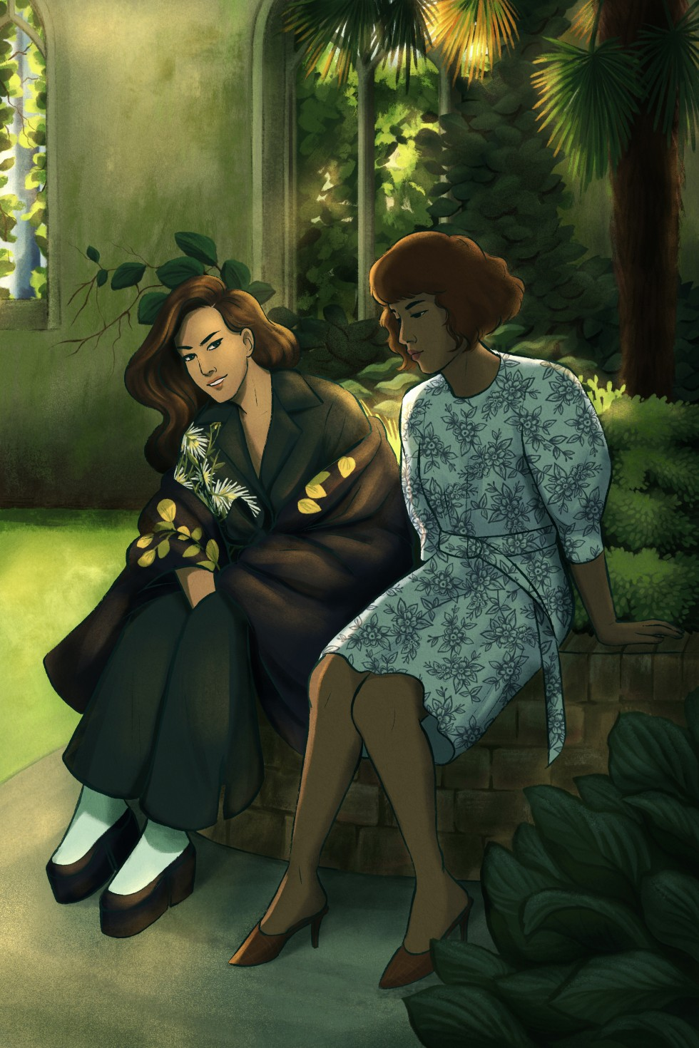 A digital art piece that features two figures sitting on a brick railing in a sunny park. The figure on the left has light skin and long dark wavy hair. She is wearing a black jumpsuit and coat with white, green, and yellow floral embroidery and white and