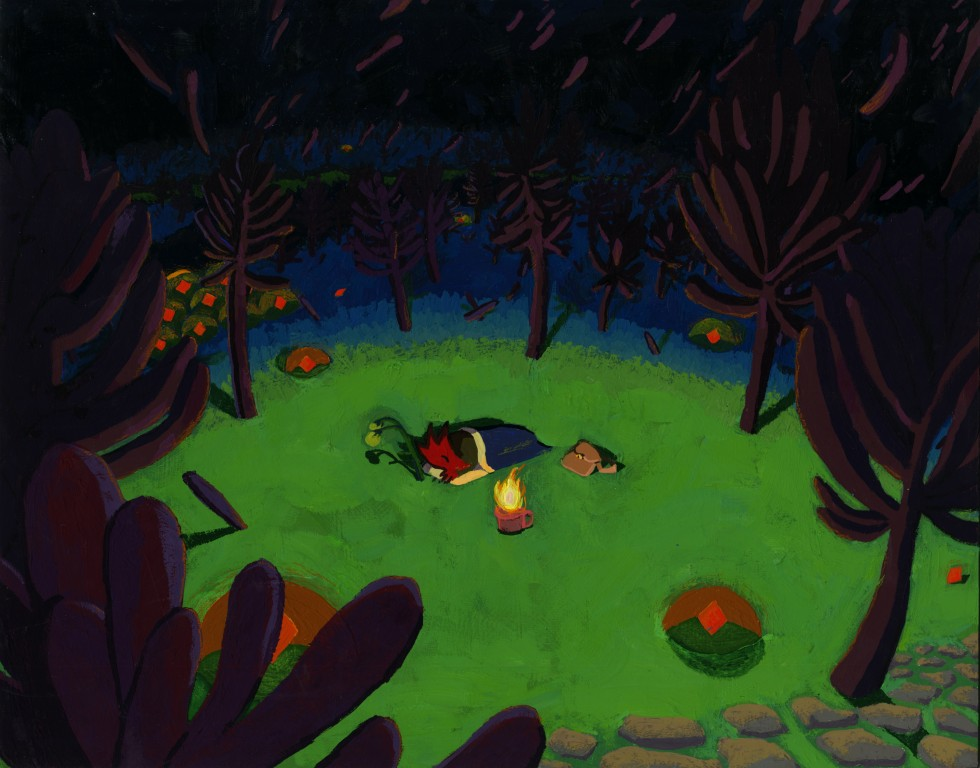 A red bird-woman sleeps soundly next to a campfire kept in a mug. She is surrounded by tree-like growths, a stone path and orange gels containing gemstones. It is nighttime, and there is a circle of light from the campfire.