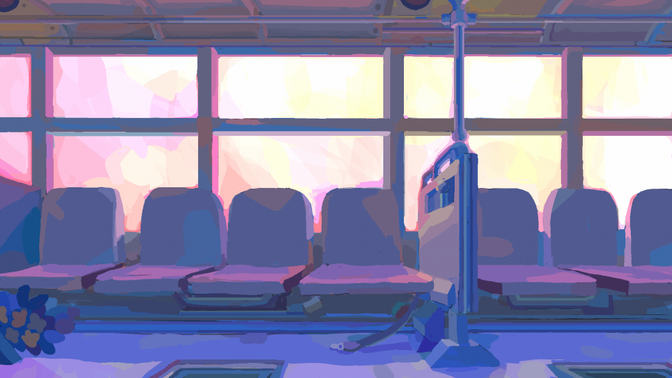 Digital painting of the side of a bus. Seats in a row at the foreground and bright windows at the background.
