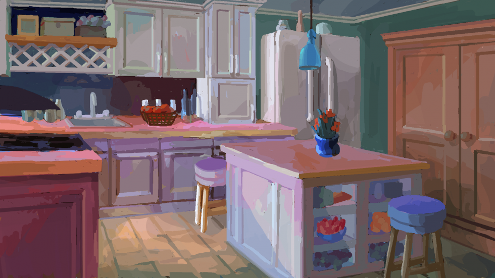 Digital painting of kitchen. A counter in the center foreground, oven, sink, and different, longer counter surrounding the left and background left edge. Fridge at the background center-right and cabinet to the far right.
