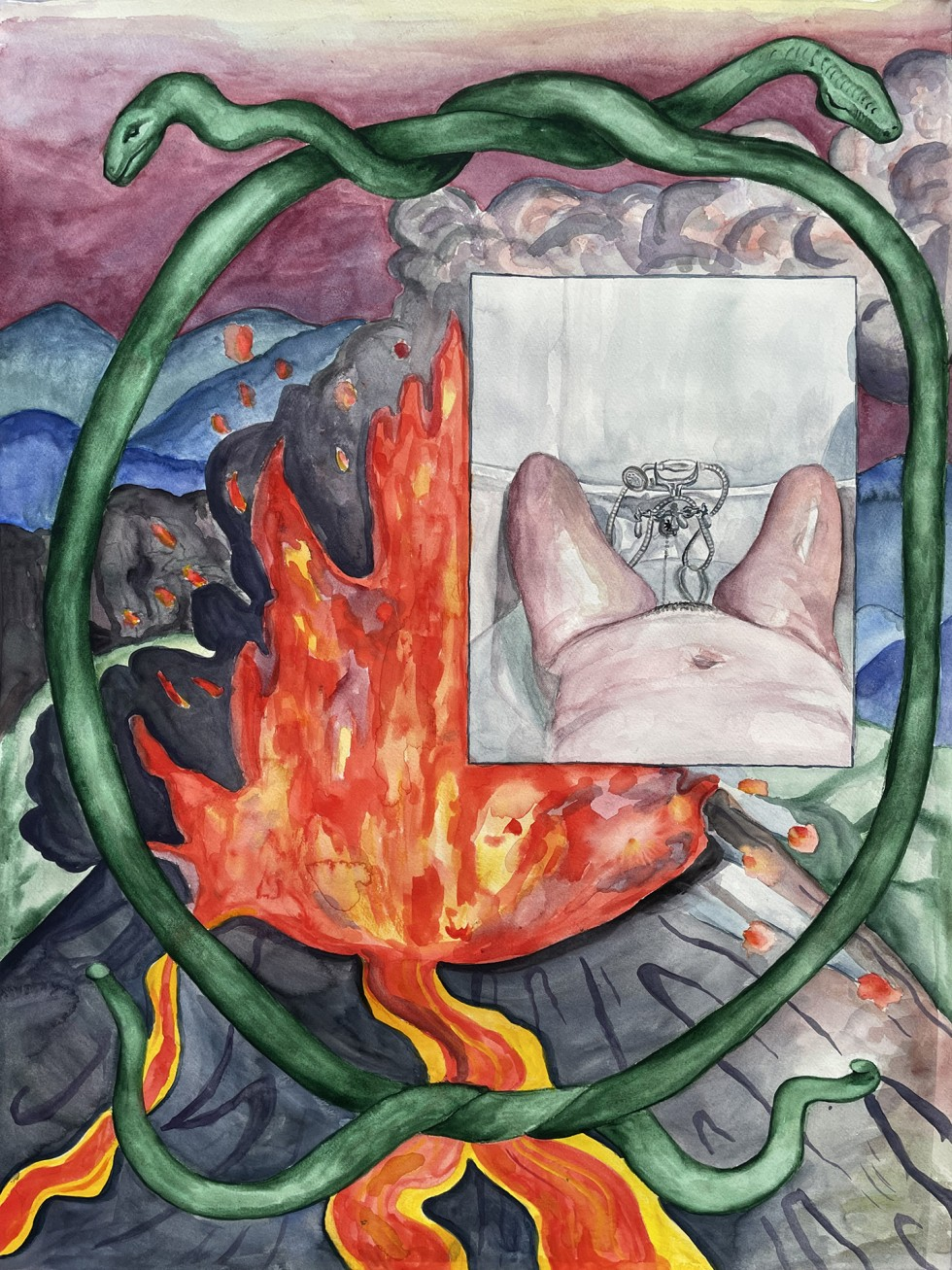 Volcano exploding in mountain scape, smaller inset rectangle of woman's lower half in bathtub, both are surrounded by intertwined snakes.
