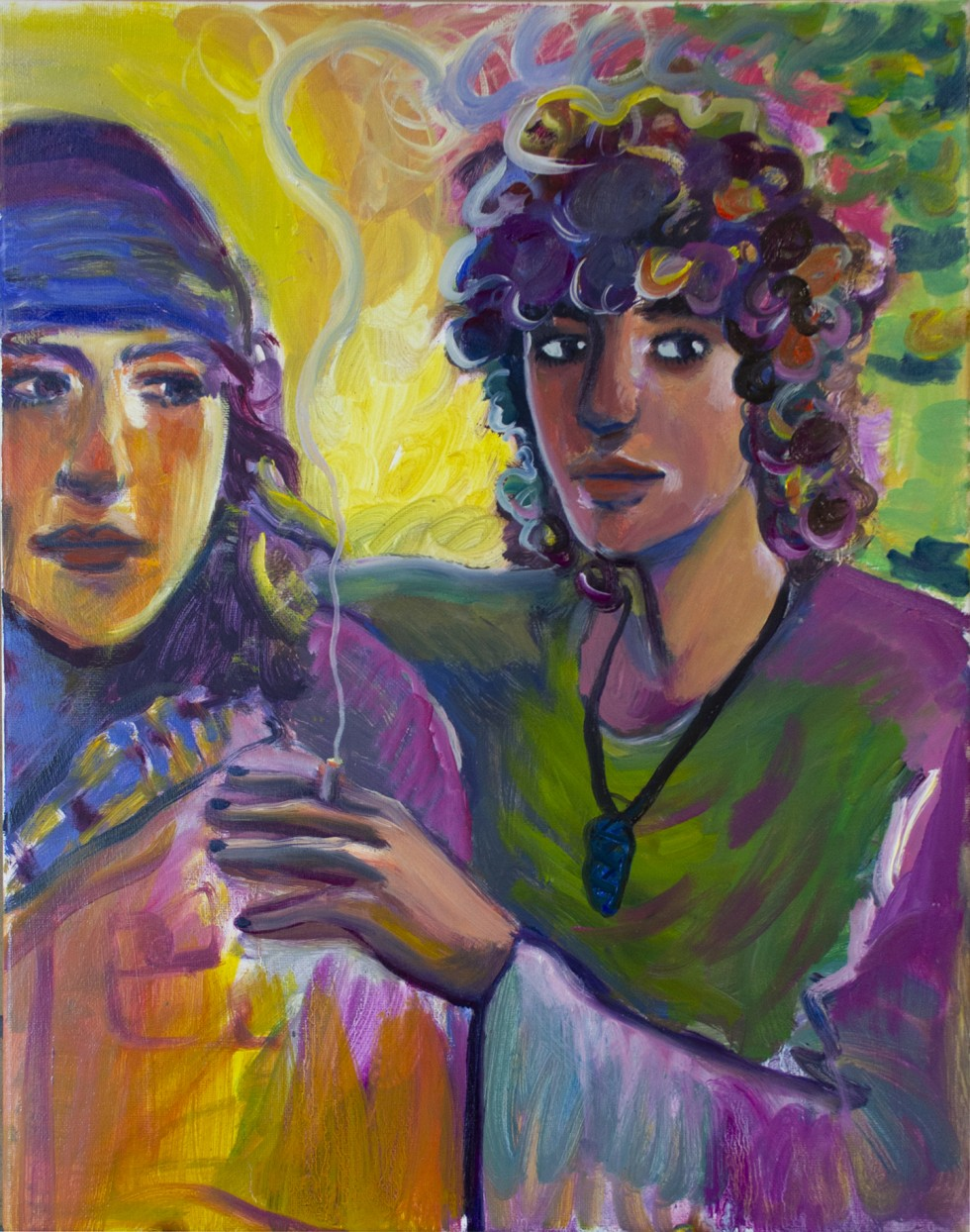 A painting of two people, one with their arm over the other, passing a cigarette, their eyes glancing off to the side. The smoke rises and curls between the two figures, and disperses into the background.