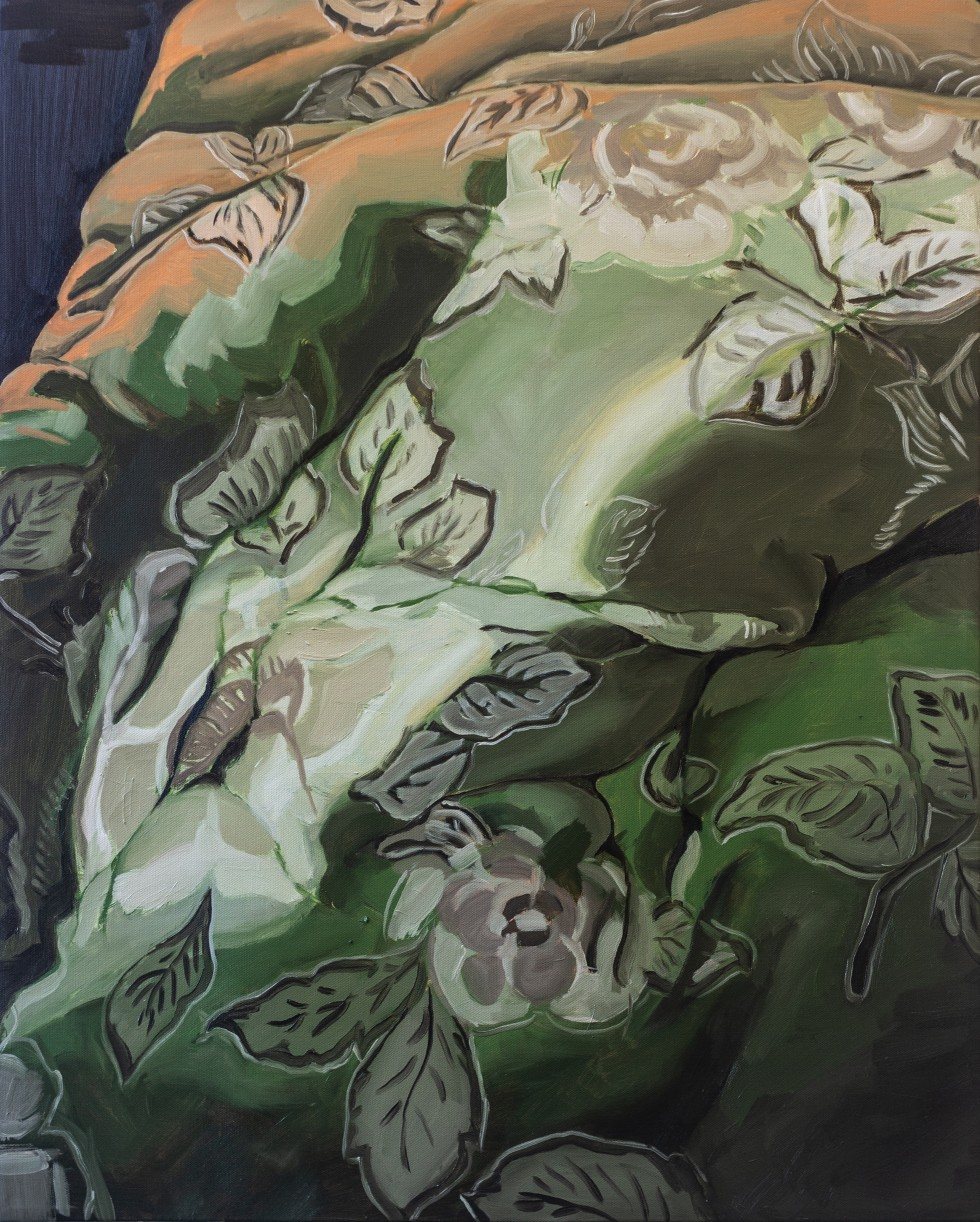 An oil painting of a vibrant green comforter with a floral pattern.