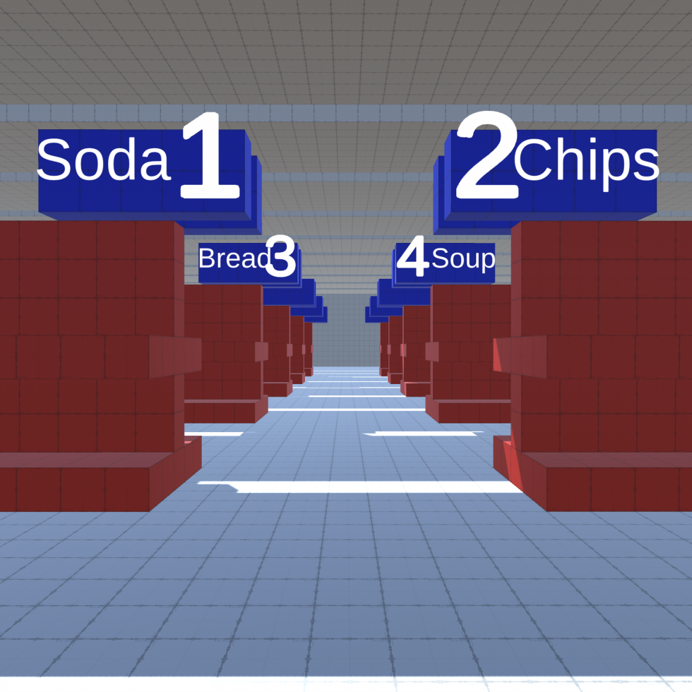 Image 1: A 3D render of a grocery store aisle, with bright, highly contrasting red and blue colors and large, oversized aisle signs.