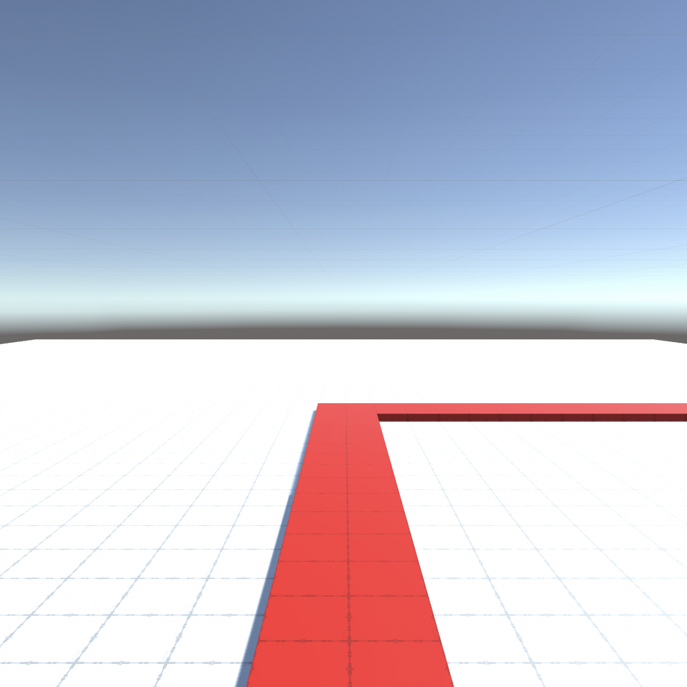 Image 2: A 3D render of a white floor with a bright, contrasting red line that draws a path from where the viewer stands to the right of the frame.