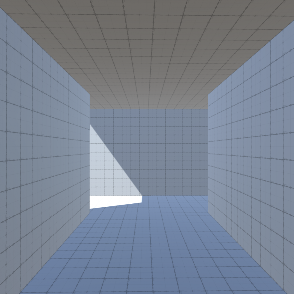 Image 3: A 3D render of a dimly lit hallway, ending with a fork where the left side is brightly lit and easily visible while the right side is not.