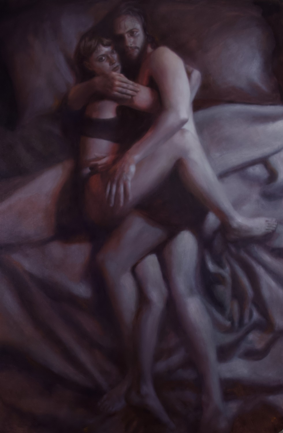 From a bird's eye view, there are two figures laying in bed in a warm embrace looking directly at the viewer with expressionless faces. One right side of the painting is mostly a cool blue and the left side is a warm purple with some reds.