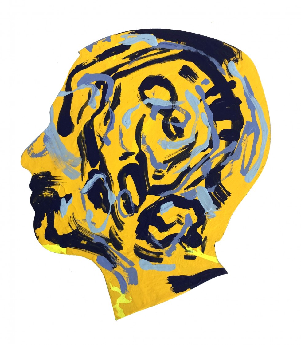 Yellow side profile of head with various strokes within of dark and light blues.