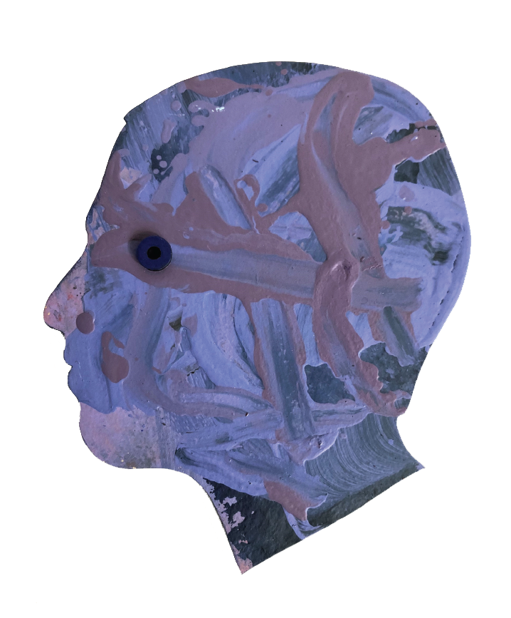 Side profile of head with strokes of purples and blues. Rubber ring where an eye would be.