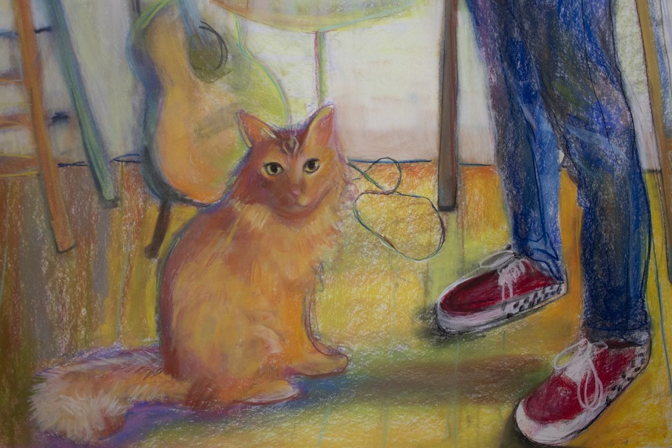Detail of a portrait of a figure and a cat in an interior space, both with their gaze at the viewer. An array of objects are rendered behind them- an easel, a lamp, a guitar, a stool with incense burning, and a collage of drawings on the wall.