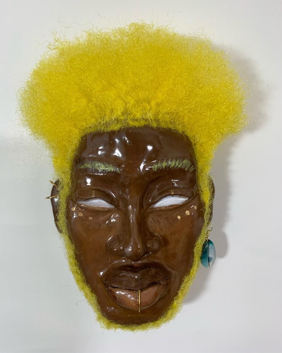 hand made ceramic mask sculpture