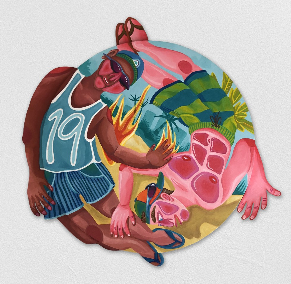 Circular painting with two beachgoing bros swirling among palm trees and flames