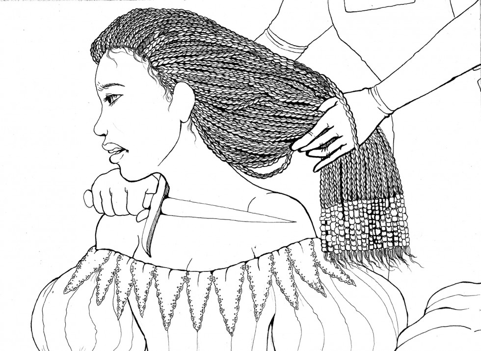 A figure in a fine dress kneels with a second figure holding a knife to her throat in the second before her skin is cut. Her executioner holds her braided hair delicately away from her neck as they press the knife to her. She wears an expression of anguis