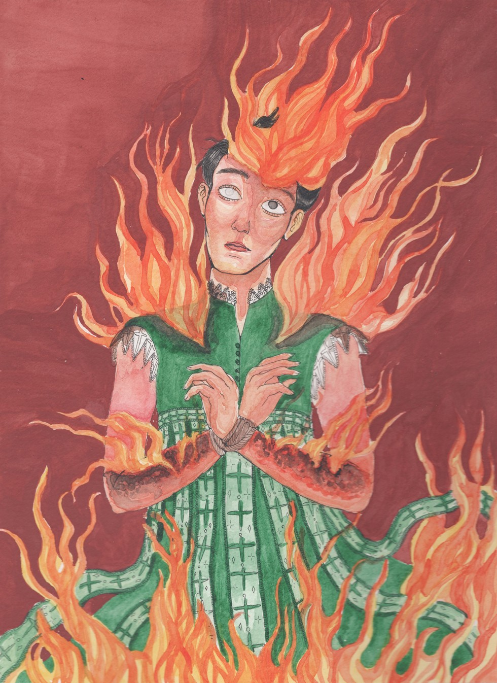 A figure stands at a stake, engulfed in flame. His vestments of green and lace are singed at the edges, and the fire licks at his hair like a crown. His right eye is already changed translucent and gray by the fire, and the skin of his arms is burned bril