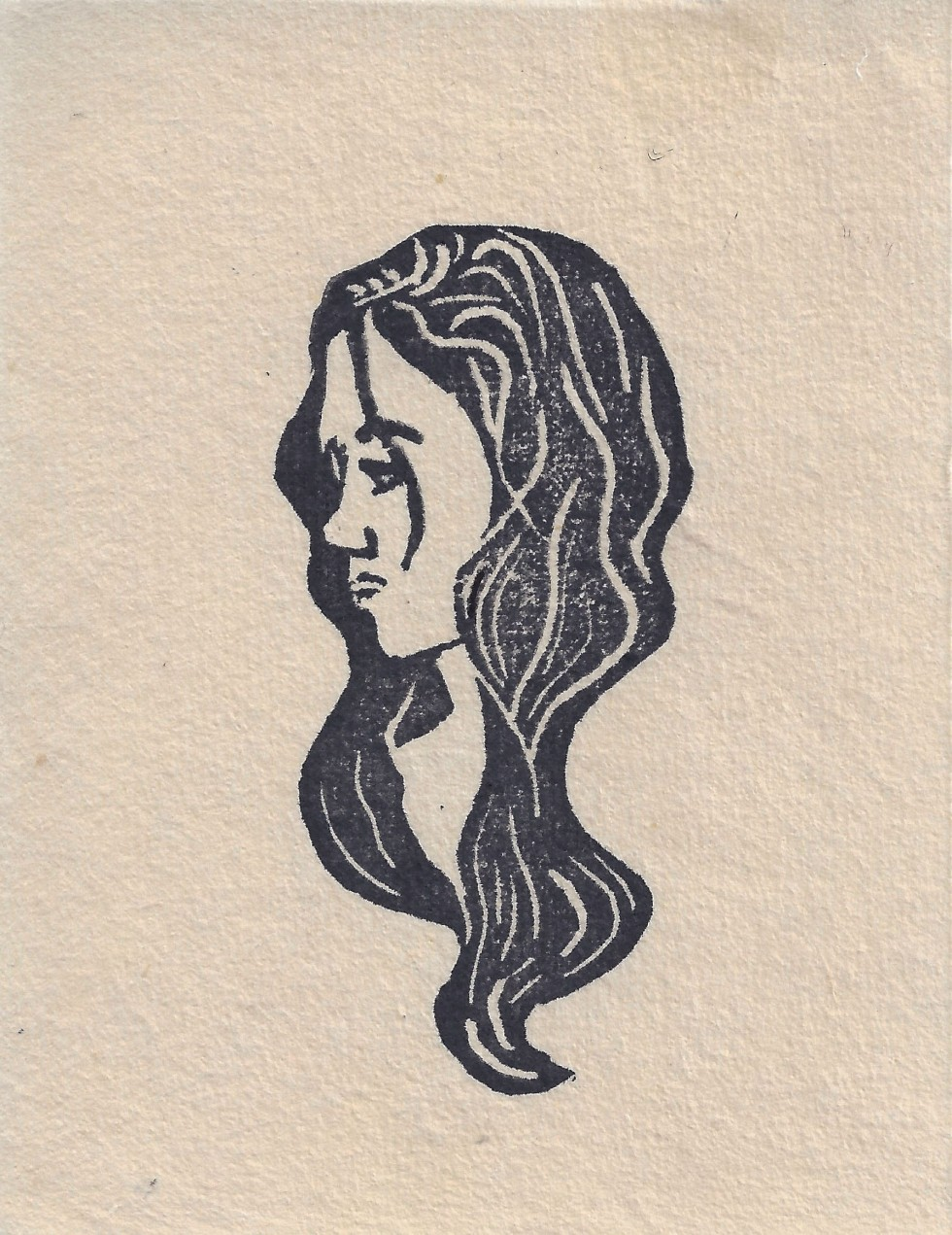 A black linoleum print of a series of fifteen female heads in a circle looking infinitely in a counterclockwise direction.