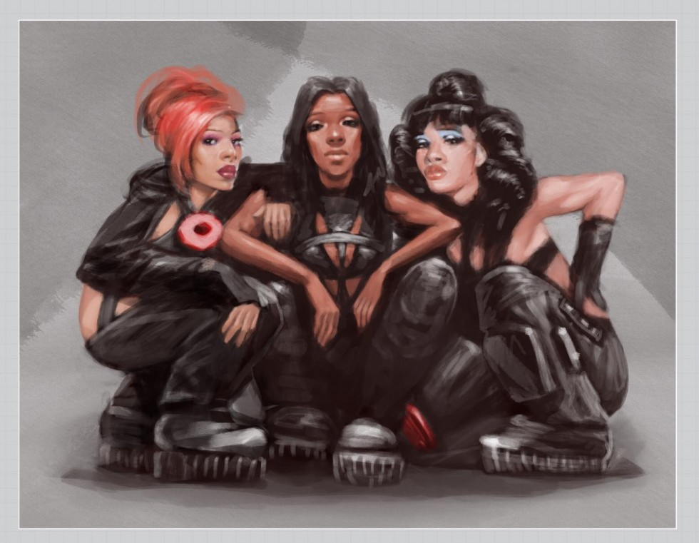 series of celebrity portrait. specifically Janet Jackson, Tyler The Creator, and TLC.