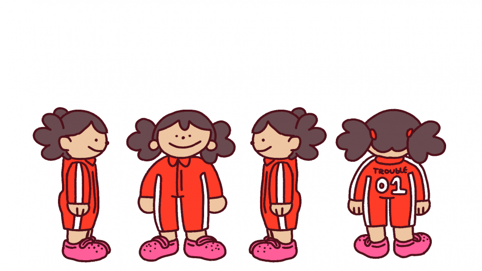 Character turnarounds of the main character, Trouble.